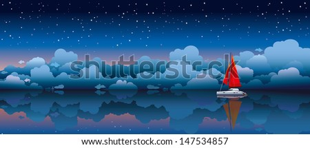 Red sailing boat in a calm sea on a night starry sky background - stock vector