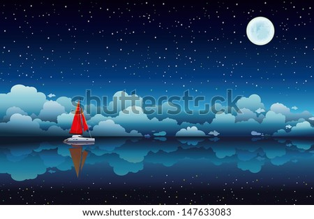 Red sailing boat in a calm sea on a night starry sky with full moon - stock vector