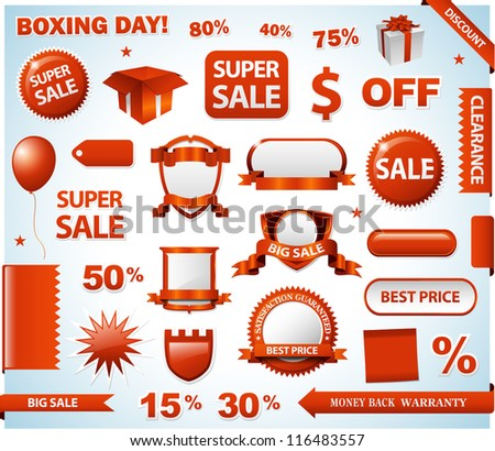 Red sale tags - stock vector