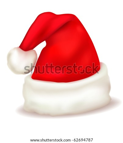 Red santa claus hat. Vector. - stock vector