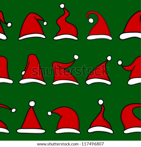 Red Santa hats on green background. Seamless pattern. - stock vector