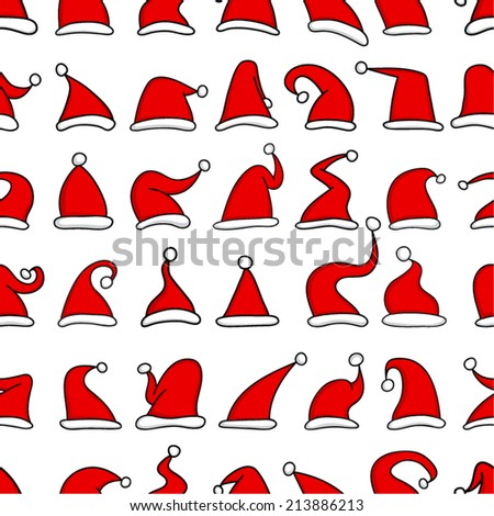 Red Santa hats. Seamless pattern.  - stock vector