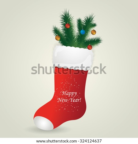 Red Santa's boot with christmas pine and balls. Christmas greeting card with boot. Vector illustration - stock vector