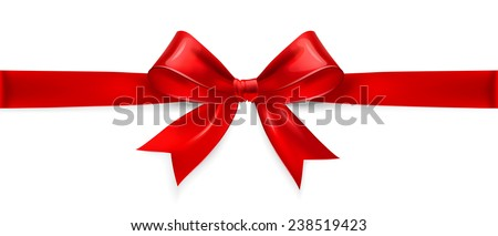 Red satin bow isolated on white background. Vector illustration - stock vector