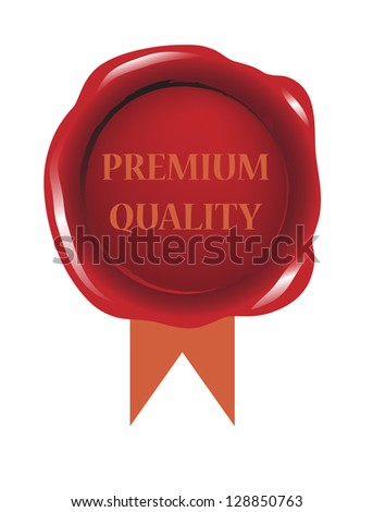 Red seal wax vector for premium quality product - stock vector
