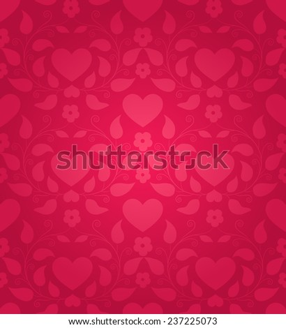 Red seamless background for Valentine's day - stock vector