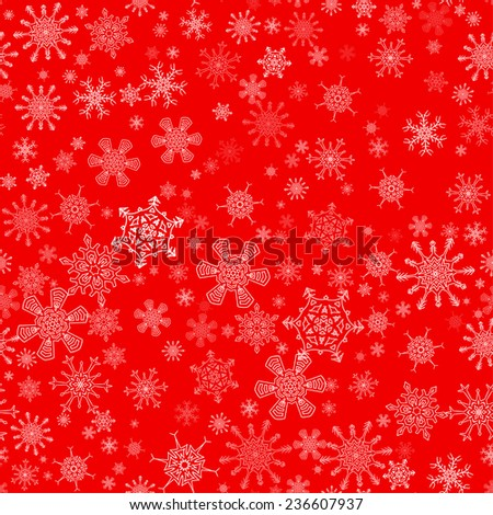 Red seamless Christmas pattern with different snowflakes falling - stock vector