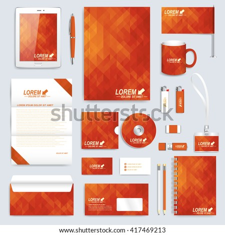 Red set layout of vector corporate identity template. Business, science, medicine and technology design stationery mock-up. Background with red triangles. Abstract branding presentation leaflet. - stock vector
