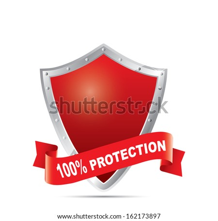Red shield - 100% protection - stock vector