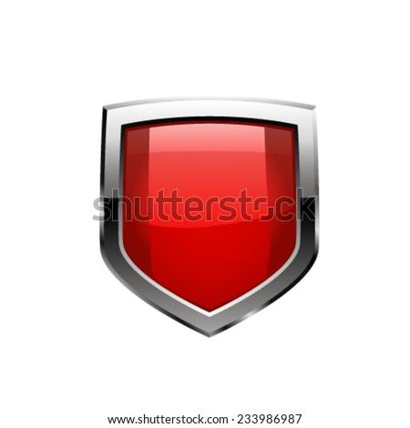 Red shield. Vector - stock vector