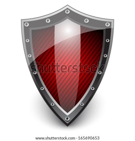 Red Shield. Vector illustration  - stock vector
