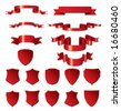 Red shields and ribbons. Vector elements for design. - stock vector