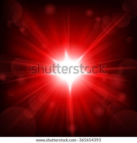 Red shine with lens flare background - stock vector