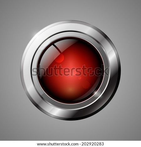 Red shiny button with metallic elements. Vector illustration. - stock vector