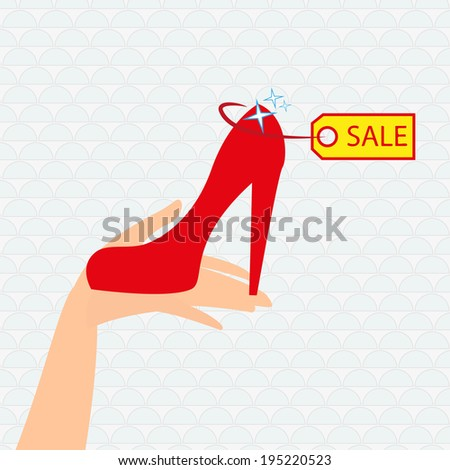 Red shoe presentation for sale - vector illustration.  - stock vector
