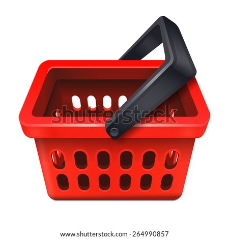 Red shopping basket icon 10eps - stock vector