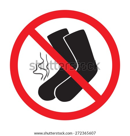 red sign ban smelly socks - stock vector
