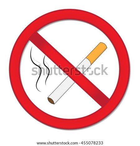 Red sign smoking ban. Stop cigarette nicotine. Vector illustration. - stock vector