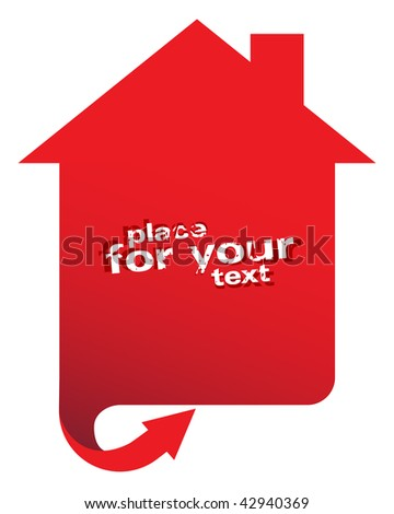 Red sign with arrow - stock vector