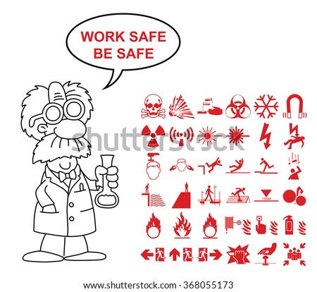 Red silhouette scientific hazard danger and emergency signage related graphics collection isolated on white background with work safe be safe message - stock vector