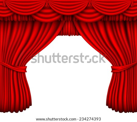 red silk curtain open shadows and lights - stock vector