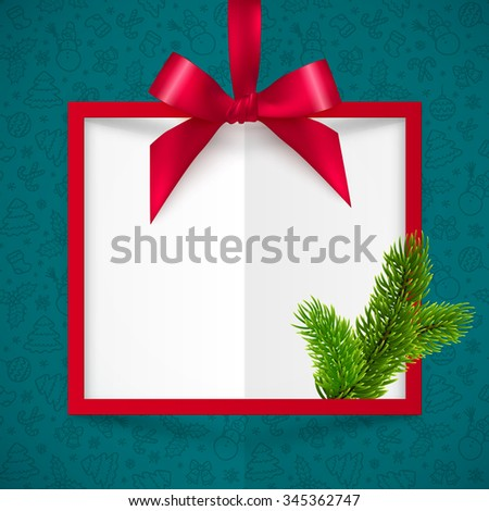 Red silky bow vector Christmas frame on blue doodle background - stock vector
