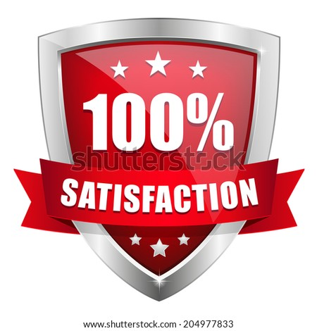 Red silver hundred percent satisfaction badge on white background - stock vector