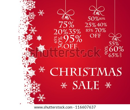 red snow christmas sale. sale concept. - stock vector