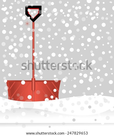Red snow shovel in falling snow  - stock vector