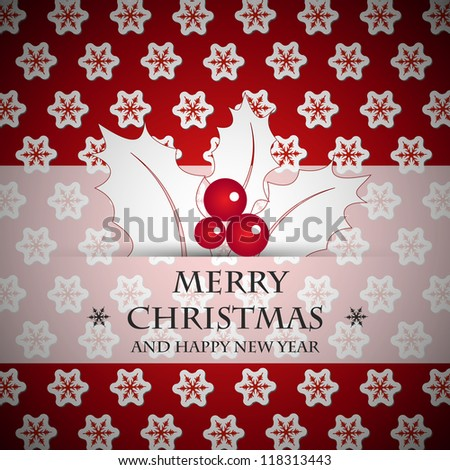 red snow square card. christmas card. - stock vector