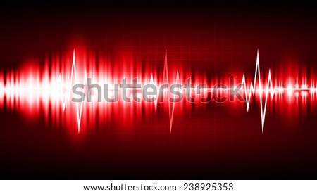 red Sound wave background suitable as a backdrop for music, technology and sound projects. Blue Heart pulse monitor with signal. Heart beat.  - stock vector