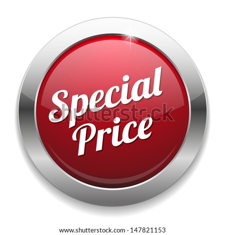 Red special price button - stock vector