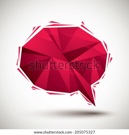 Red speech bubble geometric icon made in 3d modern style, best for use as symbol or design element for web or print layouts. - stock vector