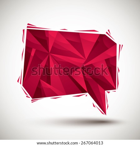 Red speech bubble geometric icon made in 3d modern style, best for use as symbol or vector design element for web layouts. - stock vector