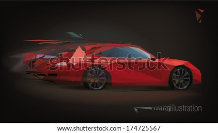 Red sport car on black background. Low-poly triangular vector illustration - stock vector
