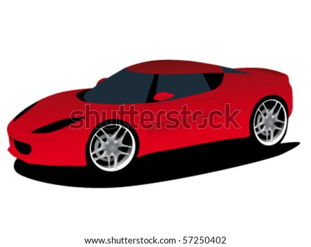 red sports car prototype - vector illustration - stock vector