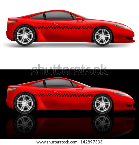 Red sports car taxi. Illustration on white and black background - stock vector
