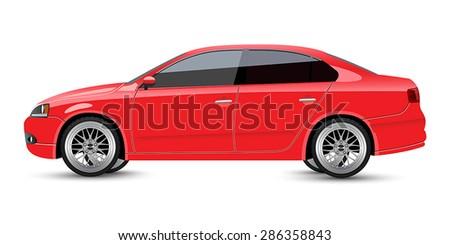 Red Sports Sedan - stock vector