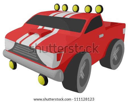 Red Sports Truck - stock vector