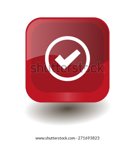 Red square button with white check sign, vector design for website  - stock vector