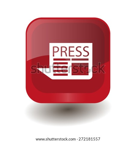 Red square button with white newspaper sign, vector design for website  - stock vector