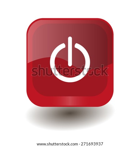 Red square button with white power on/off sign, vector design for website  - stock vector