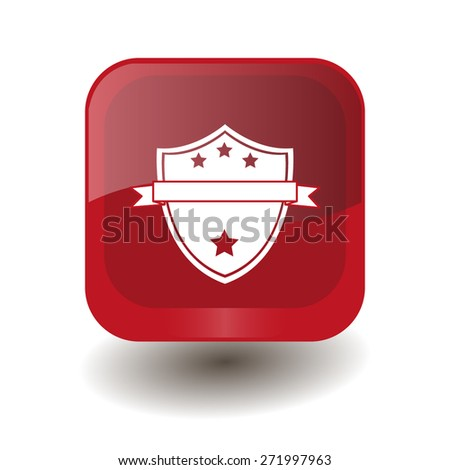 Red square button with white shield sign, vector design for website - stock vector