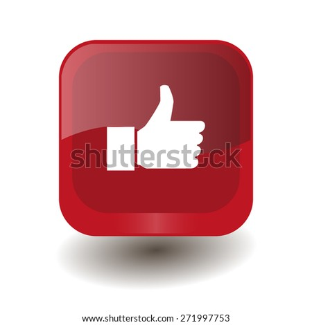 Red square button with white thumbs up (like) sign, vector design for website - stock vector