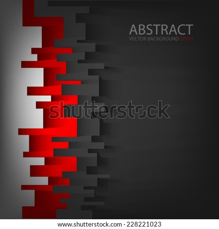 Red square digital background grey color on dark black space overlap layer paper for text and message modern artwork design - stock vector