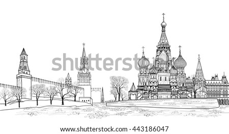 Red square view, Moscow, Russia.  Travel Russia vector illustration. Russian famous place. Kremlin city view from Moscow river. St Basil cathedral, towers and wall cityscape - stock vector