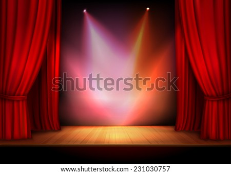 Red stage open theater velvet curtain with lights spots vector illustration - stock vector
