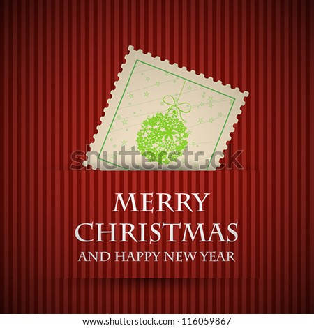 red stamp christmas card. red stamp christmas card concept - stock vector