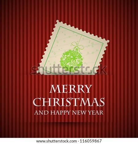 red stamp christmas card. red stamp christmas card concept - stock vector