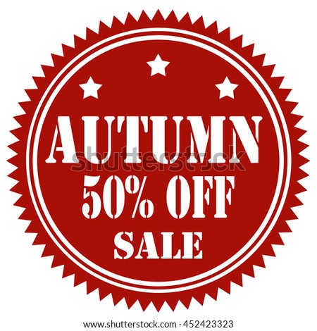 Red stamp with text Autumn 50% Off,vector illustration - stock vector